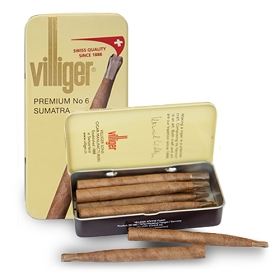 Villiger Premium No 6 Filter Tip Cigars Sumatra (5 Tins of 10)