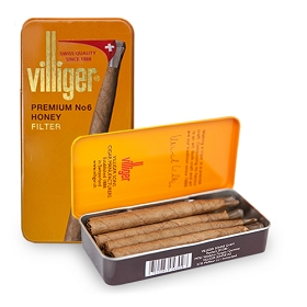 Villiger Premium No 6 Filter Tip Cigars Honey (5 Tins of 10)