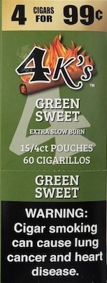 4 King Cigarillos Green Sweet (Shorty) Pre-Piced