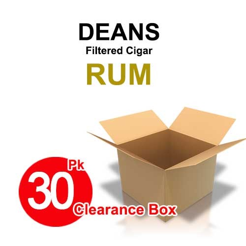 Deans Large Filtered Cigars Rum Soft - 30 Pk Clearance Box