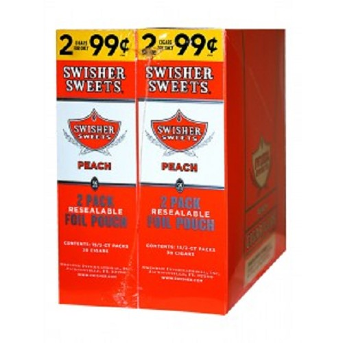 Swisher Sweets Cigarillos Foil Pack Peach Pre-Priced